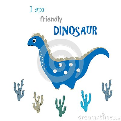 Friendly dinosaur and cactuses. Friendship vector concept Vector Illustration