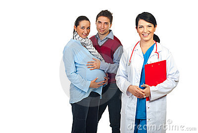 Friendly doctor and future parents
