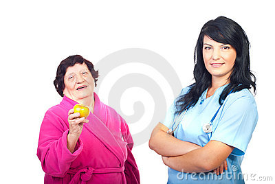 Friendly doctor and healthy patient