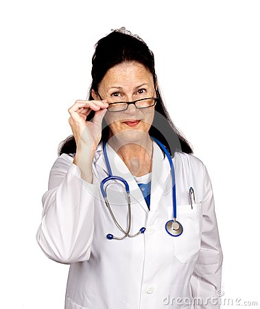 Friendly Doctor Looking Over Glasses