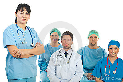 Friendly doctor woman in fornt of class
