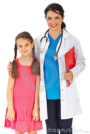 Friendly doctor woman and girl