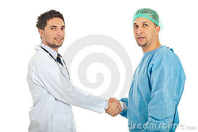 Friendly doctors handshake