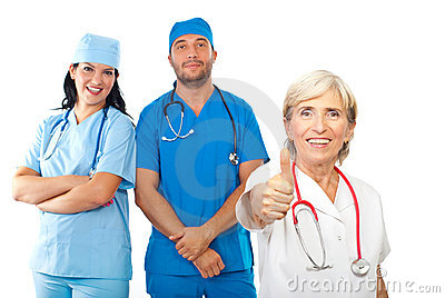 Friendly doctors team give thumbs