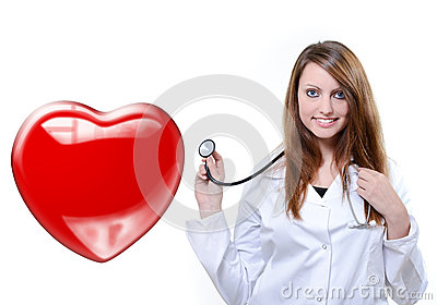 Friendly female doctor listening heartbeat