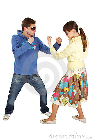 Friendly Fighting between  a guy and a girl