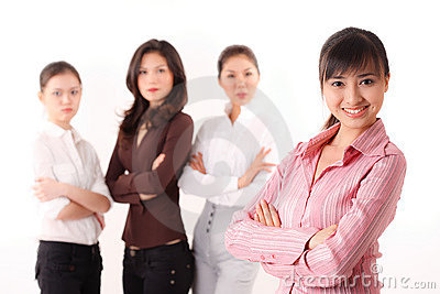 Friendly  group of asian business woman