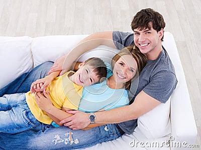 Friendly happy family - high angle