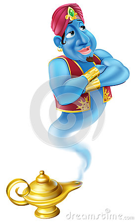 Friendly Jinn or genie and magic oil lamp