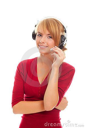 Friendly on-line operator in headphones