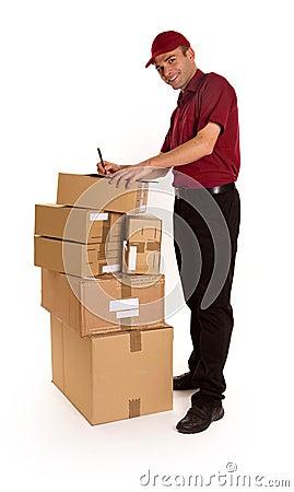 Friendly messenger delivering merchandise