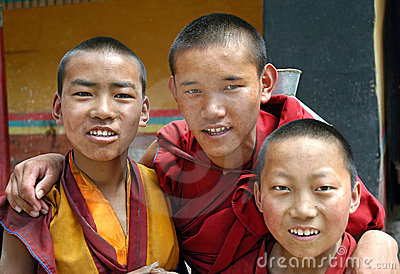 Friendly Monks In Tibet Editorial Stock Image
