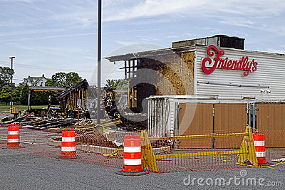 Friendly s Restaurant Burnt-down Editorial Photography