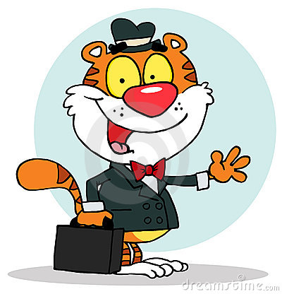 Friendly salesman tiger waving and carrying a brie