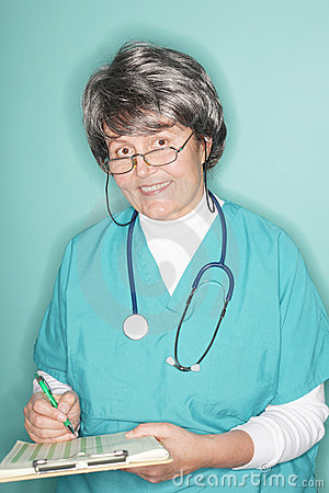 Friendly senior nurse