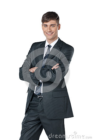 Friendly and smiling businessman looking at camera with reliabil