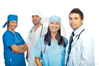 Friendly smiling young team of doctors
