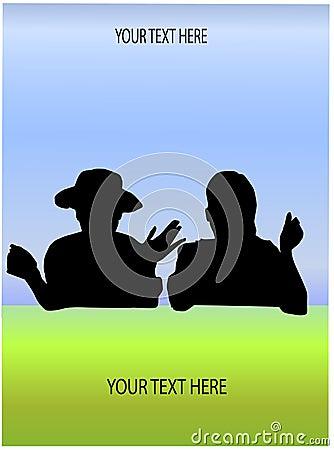 Friendly talk in landscape