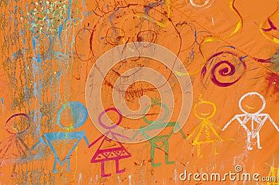 Friendly on-wall graffity