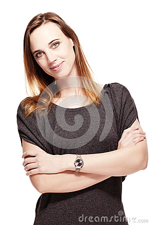 Friendly woman with folded arms