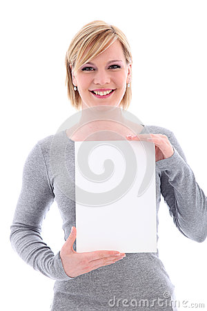 Friendly woman holding vertical blank sign