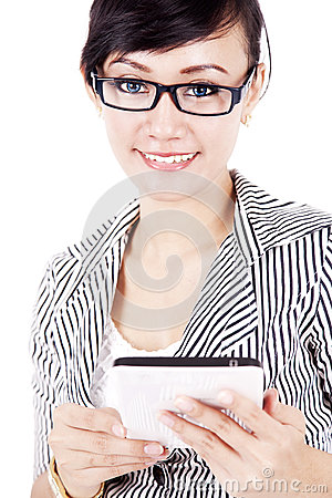 Friendly woman with tablet