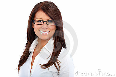 Friendly young woman with glasses cut out