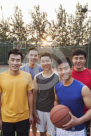 Friends on the basketball court, portrait