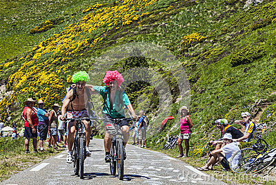Friends on Bicycles Editorial Stock Image
