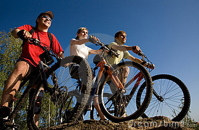 Friends bicyclists
