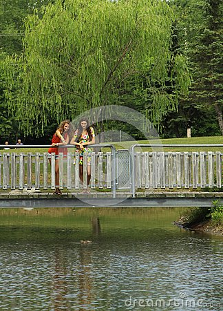 Friends On A Bridge Royalty Free Stock Images - Image: 27345119