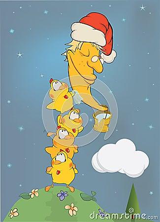Chickens clean the moon. Cartoon
