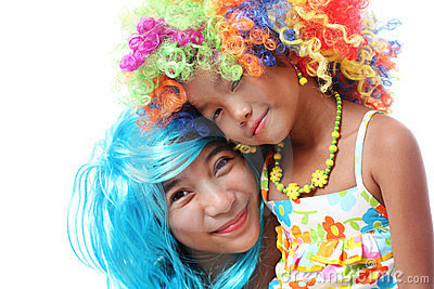 Friends In Coloful Wig