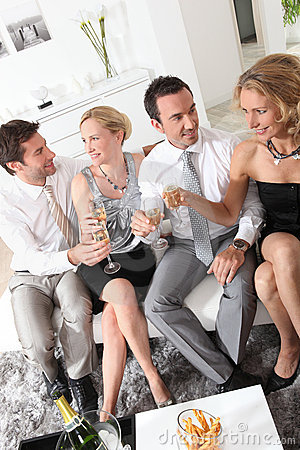 Friends drinking champagne