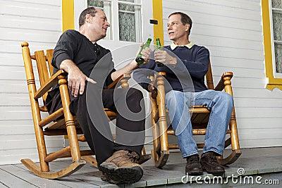 Friends enjoying a beer