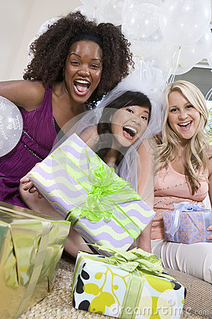 Friends With Gifts Screaming At Hen Party