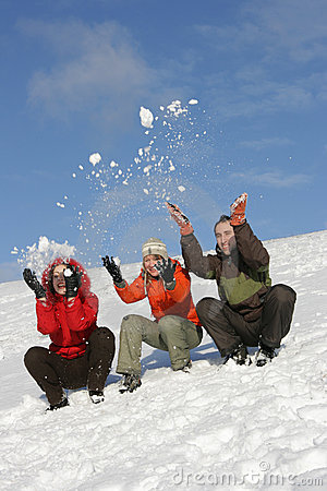 Free Friends Have Fun In Winter Royalty Free Stock Photography - 4173977