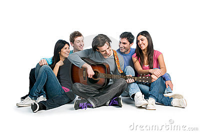 Friends have fun together and playing guitar