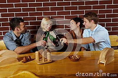 Friends having fun at bar
