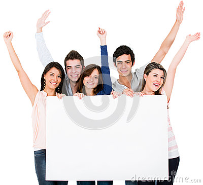 Friends holding a bannner