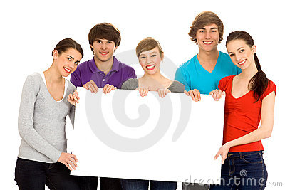 Friends holding a blank board
