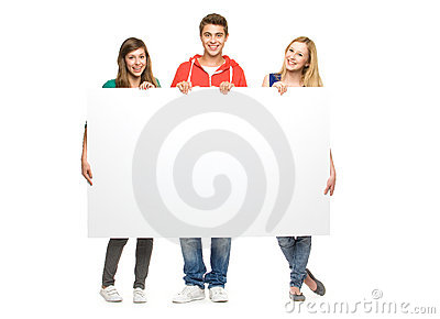 Friends holding blank poster