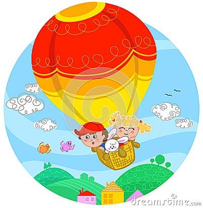 Friends on hot air balloon