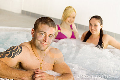 Friends in the jacuzzi