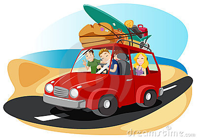 Friends leaving for summer vacation