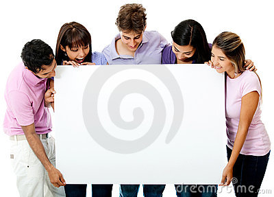 Friends looking at a banner