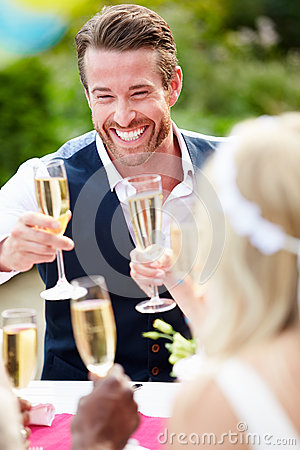 Free Friends Proposing Champagne Toast At Wedding Royalty Free Stock Photo - 35609775