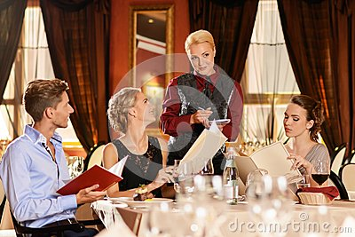 Friends in a restaurant
