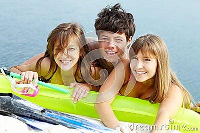 Friends on sea shore