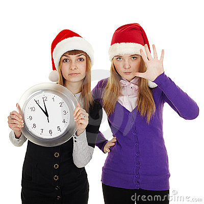 Royalty Free Stock Photography: Friends show how little time left until new year